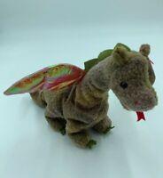 "TY BEANIE BABIES Scorch Dragon 7"" Bean Bag Plush Stuffed Animal 1998 w/ Tags S"