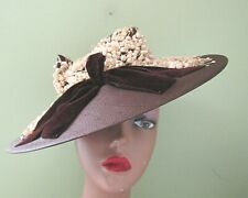 Vintage 1940'S Ladies Brown Wide Brim Straw Hat 2/ Lily Of The Valley Trim