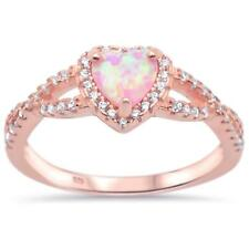 Halo Rose Gold Plated Pink Opal Heart With Cz .925 Sterling Silver Ring