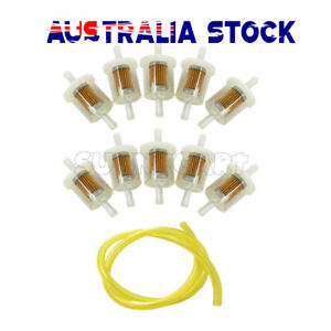 10× Inline Fuel Filter & Hose For Briggs & Stratton 691035 493629 Ride On Mower