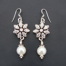 Gorgeous Pearl & Quartz 925 Sterling Silver Pretty Dangle Earrings For GIFT