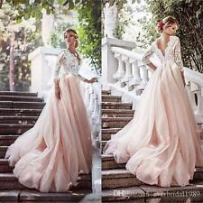A-Line Wedding Dresses Bridal Gowns 3/4 Sleeve Tulle Lace V Neck Long Backless