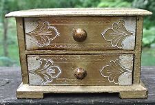 Vintage Italian Florentine Gold Wood Small Jewelry Box 2 Drawer