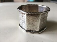 ANTIQUE SILVER NAPKIN RING DATED 1860 AND 1906 WITH INITIALS JC AND OTHERS
