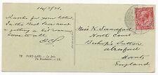 Great Britain Scott #160 Aden Camp Paquet Boat Cancel Post Card Feb 16, 1921