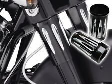 Black Edge Deep Cut Fork Boot Slider Cover Cow Bell for 1984-2013 Harley Touring