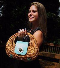 UNIQUE Kate Spade MINI NATURAL SANTIAGO PLANTATION WICKER Tote HANDBAG BAG