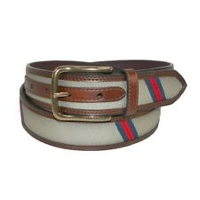 Tommy Hilfiger Men's Leather with Fabric Inlay Casual Belt, Brown, Size 34