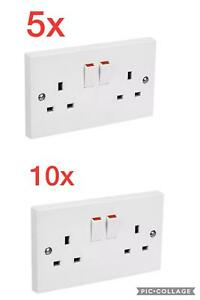 New pack of 5,10 2gang/double switched wall sockets,13amp,ukstandard plug,white