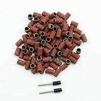 "102pc 320Grit Sanding Band Drum 2Mandrel Sand Paper Rotary Drill Bit Dremel 1/4"""