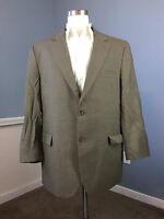 Jos A Bank 46 R 100% Wool Brown Pinstripe Suit Excellent 41 W two button