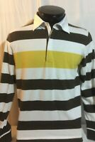 Hugo Boss Yellow Brown White Long Sleeve Polo Shirt Large Regular Fit