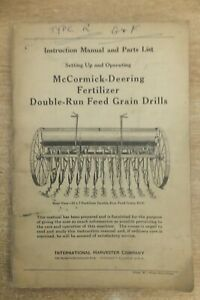 McCormick deering fertilizer & grain drills instructions & parts list book