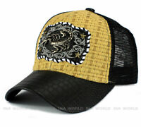SCORPION Straw Woven Hat Metal Patched Mesh Trucker Snapback Baseball Cap- Beige