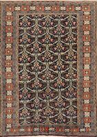 Vintage All-Over Geometric Ardebil Area Rug Hand-Knotted Oriental Carpet 5x8