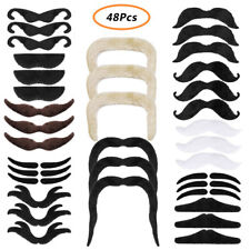 48 x Fancy Dress Fake Moustaches Stag Hen Party Black Self Adhesive Beards Decor