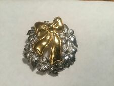 Silver and Gold Toned Christmas Wreath Pin Brooch