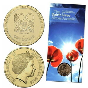 2016 $1 Centenary Of Anzac 'The Spirit Lives'  Australia Map Coin in Card