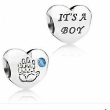 "NEW GENUINE PANDORA SILVER ""ITS A BOY"" HEART & HAND CHARM 791281CZB S925 UK"