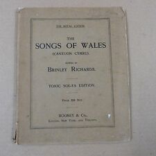 songbook THE SONGS OF WALES caneuon cymru, Brinley Richards, tonic sol-fa