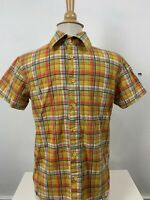 Desigual Man Mens Medium Button Up Short Sleeve Yellow Natives Size Small