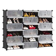 Mobile scarpiera mobiletto armadio modulare con 18 scomparti nero guardaroba