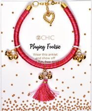 Anklet Pink Red *Fits Most* >New< 2Chic Playing Footsie Fashion Ankle Bracelet