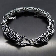"MENS 9"" / 22.5cm Silver DRAGON Link Stainless Steel Chain Bracelet"