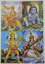 Hindu Postcard Set (15) HANUMAN - DURGA - BAL KRISHNA - SARASWATI