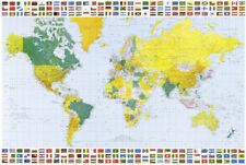 Map of the World (With Flags) Art Poster Print Poster Print, 36x24 World Map