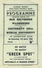 Old Belvedere v Wanderers & University College v Dublin Universit 1962 RUGBY PRO