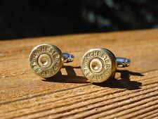 45 Caliber Cufflinks -- Ammo Ammunition Brass Bullet