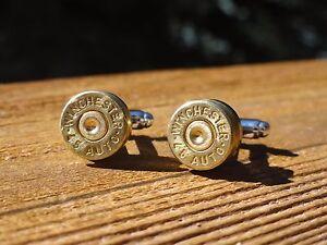 45 Caliber Cufflinks -- Ammo Ammunition Brass Bullet