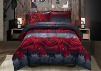 3D Red Roses 3 Piece Queen Size Printed Box Stitched Breathable Comforter Set