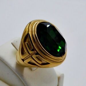 RING MEN EMERALD STAINLESS STEEL YELLOW GOLD CROSS KNIGHT TEMPLAR POPE SIZE 9 j