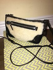 Coach Black Leather Shearling Small Rhyder Pochette Cross Body Purse Bag 36490