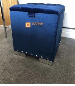 DRESSING TABLE STOOL SEAT BOX STORAGE IN - PLUSH VELVETS - OTTOMAN - BRAND NEW