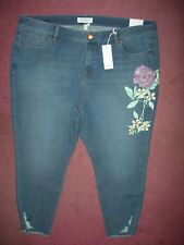 ef0493e863b Lane Bryant 28 High Rise SKINNY Ankle Jean Floral Decal Ultimate Stretch 28w