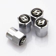 4 x Silver Chrome Tyre Valve Dust Caps (Fits HYUNDAI) - BLACK