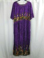 Woman Within Border Print Dress Size 2X Purple Crinkle Maxi African Tribal Print