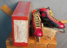 Vintage Hallowell Red/Black Leather Ice Hockey Skates &Box Sz.8 Beaver MC Blades