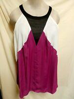 Worthington NWT Plus Size Fuschia, Black, & White Sleeveless Sassy Top 3X
