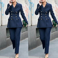 Double Breasted Blazer 2 Piece Womens Business Office Formal Suits Navy Blue