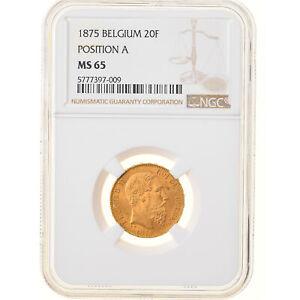 [#878854] Coin, Belgium, Leopold II, 20 Francs, 20 Frank, 1875, NGC, MS65