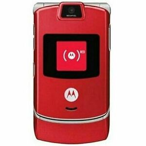 Motorola Razr V3 Unlocked Bluetooth Cellular Phone Flip Mobile Phone - Red