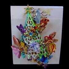 NEW in Box Kirks Folly Fantasy Fairy Christmas Tree Pin Pendant Gold tone signed