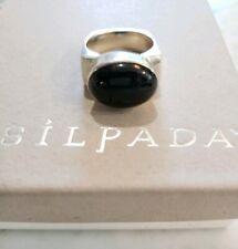 Silpada 925 Sterling Silver Black Oval Onyx Square Ring Sz 7 R0995 RARE RETIRED