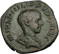 PHILIP II Roman Caesar with globe Sestertius Big Rare Ancient Roman Coin i51158