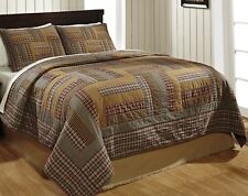 Patchwork Quilt Set King Karston Rustic Plaid Primitive Bedding FREE SHIPPING