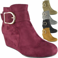 Ladies Faux Suede Mid Low Heel Wedge Buckle Work Ankle Boots Shoes Size